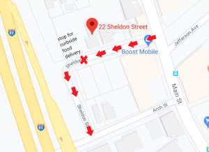 curbside food delivery map Sheldon Street